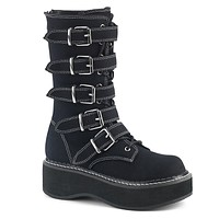 Emily 341 Multi Strap Goth Black Canvas Ankle / Mid Calf Combat Boots 6-12