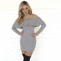 Casual In Cashmere Grey Sweater Dress