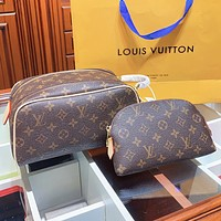 LV Fashion New Monogram Print Leather Cosmetic Bag Handbag Two Piece Suit Coffee