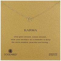 "Dogeared ""Karma"" Linked Gold Ring Pendant Necklace, 18""+ 2"" Extender"