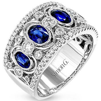 Simon G. Vintage Style Oval Shape Blue Sapphire Ring
