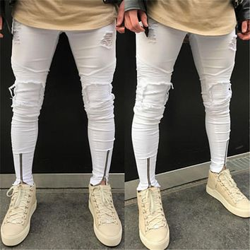 Zipper Stretch Knee Ripped Jeans Men Hole Clothing Skinny Jeans Fashion Brand Men Pants 2018 New