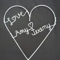 Personalized LOVE Heart Cake Topper by heatherboyd on Etsy