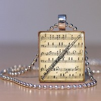 Vintage Sheet Music and Flute Print Pendant or Tie Tack made from an Upcycled Scrabble tile (143D2)