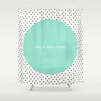 MINT HELLO BEAUTIFUL - POLKA DOTS Shower Curtain by Allyson Johnson