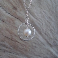 Pearl pendant necklace, wire wrapped, sterling silver and pearl necklace, wedding gift for bride or bridesmaids
