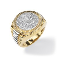Men's 1/7 TCW Round Diamond Pave 18k Gold over Sterling Silver Two-Tone Ribbed Ring