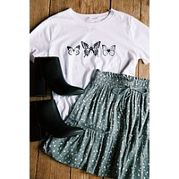 What A Monarch Butterfly Monochromatic Tee, White