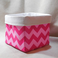 Two Toned Pink Chevron Basket With White Damask Liner