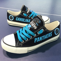 2016 Carolina Panthers Sneakers Panthers Fashionable Canvas Tennis Shoes FREE SHIPPING