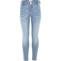 River Island Girls blue light wash denim jeggings