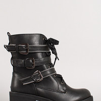 Strappy Zipper Elements Lace Up Bootie