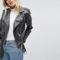 ASOS TALL Leather Look Washed Biker Jacket at asos.com