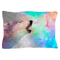 Galactic Wolf Howl (gray/multi) Pillow Case> Pillow Cases> soaring anchor designs