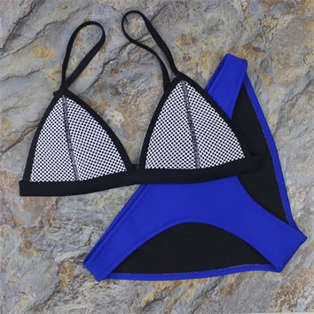 Mesh Neoprene Triangle Bikini w/ Skimpy Bottom - Multiple Colors