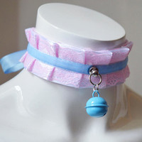 Kitten play collar - Light Arletta - pleated pastel kawaii bdsm choker with lace - kittenplay pet lolita daddy kink ddlg collar by nekollars