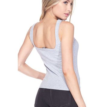 Square Neck Cotton blend Tank Top