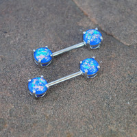 Blue Fire Opal Nipple Barbell