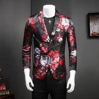New Designs Men's Floral Blazer Jacket Men Dress Slim Fit Man Suit Stage Costumes For Singers Male Coat Red Casual Mens Blazer