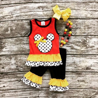 Minnie Mouse Black Polkas and Ruffles Capri Set and Accesories