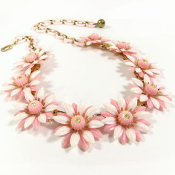 Vintage Coro Daisy Rhinestone Necklace, Pink Floral Necklace, Daisy Flower Choker, Gold Tone Metal