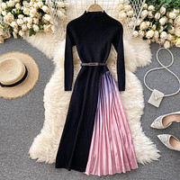 Women's gradient color pleated big hem stitching knitted dress