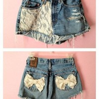 Lace High Waisted Shorts w/ bows <3