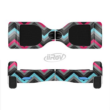 The Sharp Pink & Teal Chevron Pattern Full-Body Skin Set for the Smart Drifting SuperCharged iiRov HoverBoard