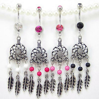Gem Dream catcher Belly button Ring silver piercing Accessary 316L medical stainless steel navel ring navel nail