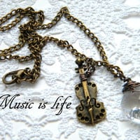GIFT IDEA for Her Music necklace: handmade bronze necklace with one violin charm and one crystal bead - FREE gift packaging