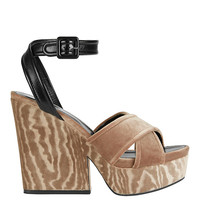 Sergio Rossi Hannelore Velvet/Leather Wedge - INTERMIX
