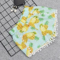 Hot Shorts Hot Summer Women High Waist  2018 Fashion Boho Elastic Waist Tassels Casual Pineapple Print Beach Loose  FemininoAT_43_3