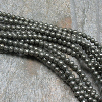 "3 mm Pyrite Round Beads, 15.5"" strand - Item B0608"