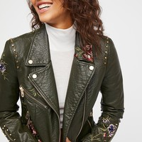 Green Faux Leather Embroidered Moto