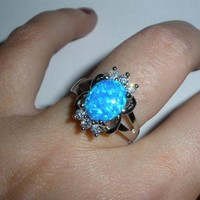 Blue Fire Opal Sterling Silver ring Spellbound on Samhain by two coven