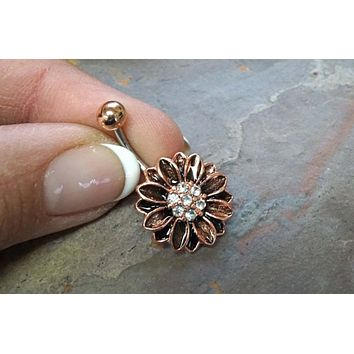 Rose Gold Sunflower Belly Button Ring