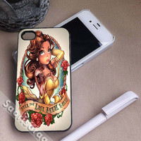 Princess Belle Disney and Tattoo Design for iPhone 4/4s, iPhone 5, 5s, 5c Case, Samsung Galaxy S3, S4 Case