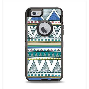 The Abstract Blue and Green Triangle Aztec Apple iPhone 6 Otterbox Defender Case Skin Set