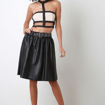Belted Vegan Leather A-Line Skirt