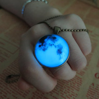 Blue Luminous planet, Earth, prom jewelry, party jewelry,Glow in the dark Blue necklace,Glowing Pendant Necklace