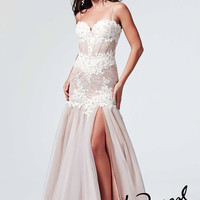 Mac Duggal 10000R - Ivory/Nude Beaded Illusion Lace Prom Dresses Online