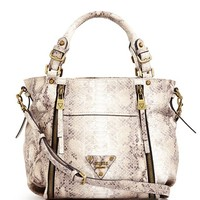 Presley Printed Zipper Satchel | GUESS.com