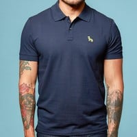 Navy Blue Cotton Pique Polo Shirt