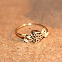 Celtic Heart Rings - Thin Rings, Custom Thin Silver Rings - Valentine Rings - knuckle Rings - Wire Ring - Letter Ring