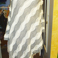 White and Grey Sweater Poncho with Fringe womans clothing