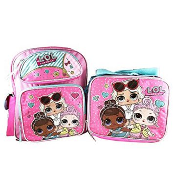 """LOL SURPRISE 12"""" BACKPACK WITH COMPARTMENTS WITH MATCHING LOL SURPRISE LUNCH BOX BAG-BRAND NEW AND RARE FIND!"""
