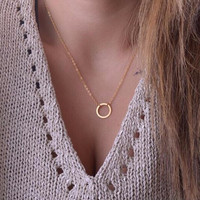 1Pc new women trendy necklaces Fashion Simple gold plated Circle Pendant choker necklace ladies short Clavicle Chain
