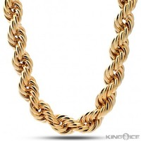 Hip Hop Fat Run DMC Yellow Gold Rope Dookie Chain