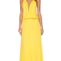 Mason by Michelle Mason Cami Wrap Gown in Yellow
