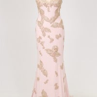 Jovani Exclusive 23314 Gold Metallic Embroidered Cap Sleeve Evening Gown